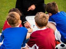 Trenowanie piłka nożna Dziecko drużyna futbolowa z trenerem przy boisko do piłki nożnej zdjęcia stock