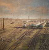 Trens. foto retro do estilo Imagens de Stock Royalty Free