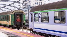 Trens na estação de comboio principal em Katowice Fotografia de Stock