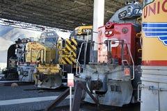 Trens na exposição na estação da união Fotos de Stock Royalty Free