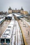 Trens no estação de caminhos-de-ferro de Haydarpasa em Istambul, Turquia Imagem de Stock Royalty Free