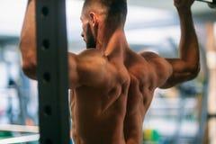 Trens novos de um atleta no gym Mostra os músculos da parte traseira e da caixa imagem de stock royalty free