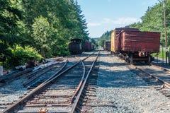 Trens velhos em trilhas Fotos de Stock Royalty Free
