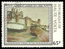 Trent Castle by Albrecht Durer. Upper Volta - stamp 1978: Color edition on Art, shows Painting Trent Castle by Albrecht Durer Stock Images