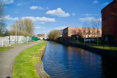 Landscape of the canal. Trent and Mersey Longport canal stoke-on-trent staffs England united kingdom royalty free stock photography