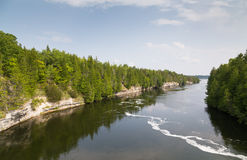 Trent River Ontario. Trees and Cliffs along Trent River Stock Images