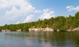 Trent River Ontario. Trees and Cliffs along Trent River Stock Photography