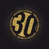 Trenta anni di anniversario di logotype dorato di celebrazione trentesimo logo dell'oro di anniversario illustrazione di stock