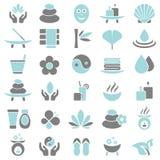 Trenta icone di benessere blu e grige royalty illustrazione gratis