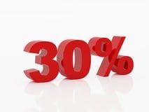 Trenta per cento di colore rosso Fotografie Stock Libere da Diritti