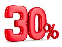 Trenta per cento su fondo bianco 3D isolato Immagini Stock Libere da Diritti