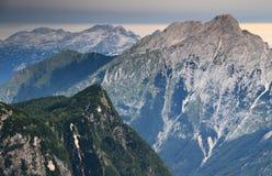 Trenta Valley with Velika Ticarica, Bavski Grintavec and Kanin Stock Photography
