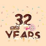 trentaduesime automobili di anniversario di anni con i fiori ed il dolce illustrazione vettoriale