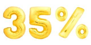 Trente-cinq 35 pour cent d'or Images libres de droits
