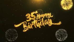 trente-cinquième célébration de joyeux anniversaire, souhaits, saluant le texte sur le feu d'artifice d'or illustration libre de droits