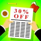 Trente pour cent outre d'illustration de la remise 3d des moyens 30% illustration stock