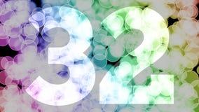 Trente un ? trente-deux ans d'anniversaire se fanent l'animation d'in/out avec le fond en mouvement de bokeh de gradient de coule illustration de vecteur