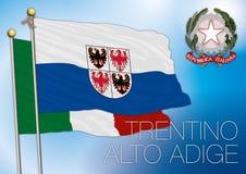 Trentino alt- adige regional flagga, Italien Royaltyfri Fotografi