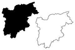 Trentino-Alto Adige - διάνυσμα χαρτών Sudtirol διανυσματική απεικόνιση