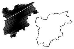Trentino-Alto Adige - διάνυσμα χαρτών Sudtirol απεικόνιση αποθεμάτων