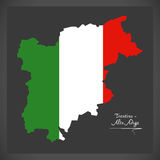 Trentino-Alto Adige map with Italian national flag illustration. In artwork style Stock Photography