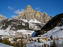 Italy, Trentino, Dolomites, view of Col Pradat from the village of Colfosco. Trentino, Dolomites, view of Col Pradat from the village of Colfosco Royalty Free Stock Photo