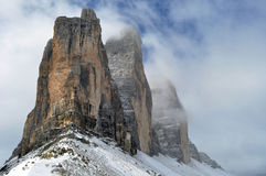 Trentino 3 peaks lavaredo. Perspective with snow show Royalty Free Stock Image