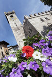 Trento. Torre Civica in Piazza del Duomo in the city of Trento, in a summer day Royalty Free Stock Images