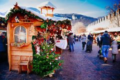 TRENTO, ALTO ADIGE, ITALY - DECEMBER 17, 2016: traditional Christmas market. TRENTO, ALTO ADIGE, ITALY - DECEMBER 17, 2016: People in the traditional Christmas stock photo