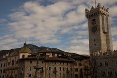 Roman Catholic cathedral in Trento, with the Fountain of Neptune northern Italy. It is the mo royalty free stock photo