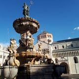 Trento Cathedral, landmark, fountain, statue, monument. Trento Cathedral is landmark, monument and historic site. That marvel has fountain, tourist attraction royalty free stock images