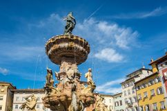 Trento city: main square Piazza Duomo, with clock tower and the Late Baroque Fountain of Neptune. City in Trentino Alto Adige, nor. Thern Italy, Europe Stock Photos