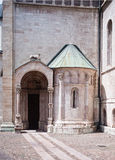 Trento, Italy. The door of the dome. Marble door of the cathedral of San Vigilio in Trento Royalty Free Stock Image