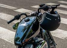 Trento Juli 22, 2017: emblem och detaljer av den berömda Harley Davidson motorcykeln Tappning och retro filtereffekt Royaltyfri Bild