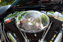 Trento, July 22, 2017: Show classic motorcycles. Motorcycle parts details. Vintage filter effect Royalty Free Stock Photo