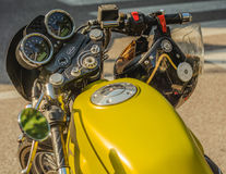 Trento, July 22, 2017: Show classic motorcycles. Motorcycle parts details. Vintage filter effect Royalty Free Stock Image