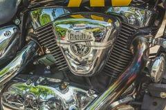 Trento, le 22 juillet 2017 : Montrez les motos classiques La moto partie des détails effet de filtre de vintage Photo stock