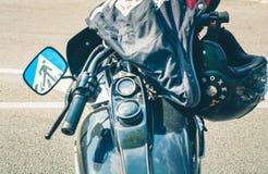 Trento, le 22 juillet 2017 : Montrez les motos classiques La moto partie des détails effet de filtre de vintage Photos stock