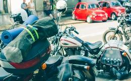 Trento, le 22 juillet 2017 : Montrez les motos classiques La moto partie des détails effet de filtre de vintage Images stock