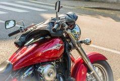 Trento, le 22 juillet 2017 : Montrez les motos classiques La moto partie des détails effet de filtre de vintage Photographie stock libre de droits