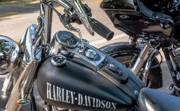 Trento, Lipiec 22, 2017: emblemat i szczegóły sławny Harley Davidson motocykl Rocznik i retro filtrowy skutek Obraz Royalty Free
