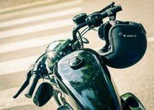 Trento, Lipiec 22, 2017: emblemat i szczegóły sławny Harley Davidson motocykl Rocznik i retro filtrowy skutek Obraz Stock