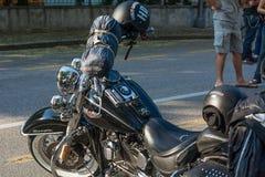 Trento, Lipiec 22, 2017: emblemat i szczegóły sławny Harley Davidson motocykl Rocznik i retro filtrowy skutek Zdjęcie Royalty Free