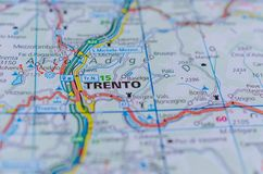 Trento on map. Close up shot of Trento or Trent or Trient on map, is a city on the Adige River in Trentino-Alto Adige/Südtirol in Italy. It is the capital of Stock Photos