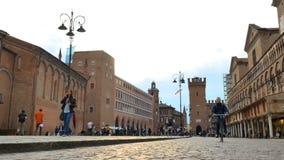 Trento and Trieste Square Ferrara Italy. Ferrara, Italy - May 2018: Trento and Trieste Square stock footage