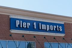 Pier 1 Imports for imported home furnishings and decor. Trenton, NJ - April 1, 2019: Pier 1 Imports at the Hamilton Marketplace strip mall specializes in royalty free stock images