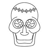 Trepanation skull of zombie icon, outline style Royalty Free Stock Image