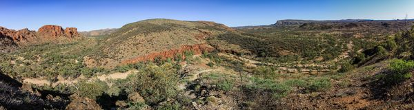 Panoramic view on The sheer quartzite cliffs at Trephina Gorge, East MacDonnell Ranges, Northern Territory, Australia. Trephina Gorge, in the East MacDonnell royalty free stock images