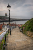 Treppe bei Whitby Abbey, England Stockfotos