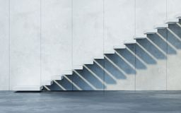 Treppe, die aufw?rts, 3d f?hrt zu ?bertragen lizenzfreie stockfotografie